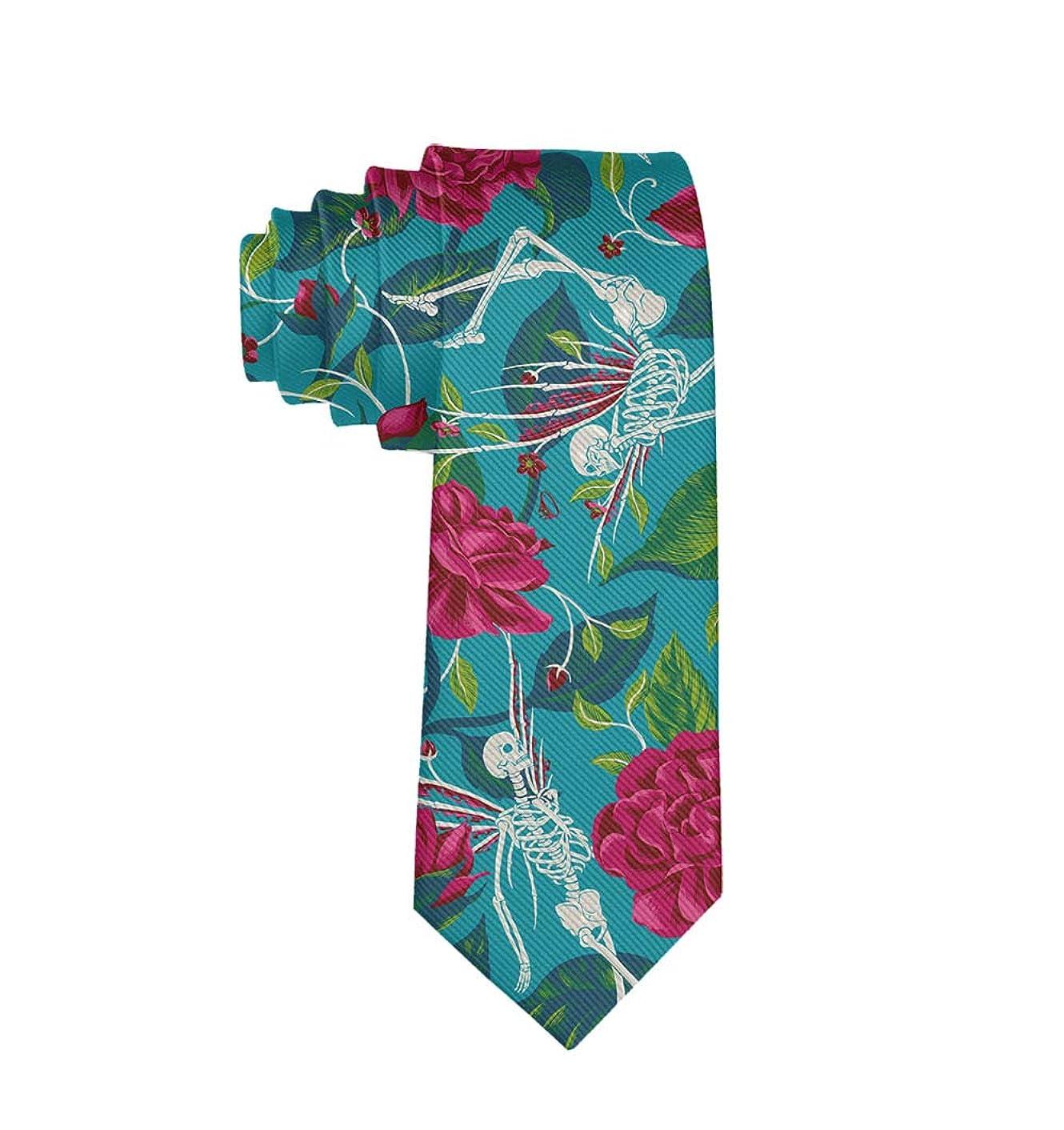 MrDecor Men's Skinny Tie Skeleton Skull Fashion Causal Floral Printed Silk Necktie