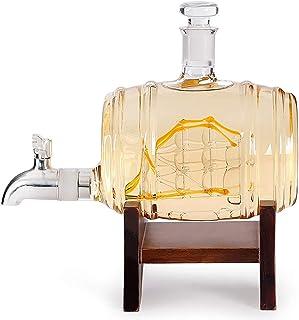 Light Whisky Karaffe mit Gravur - Schiff mit Edelstahl-Wasserhahn, 1000 ml - 2er Whiskygläser Set - Whisky Dekanter - Personalisiert Gentleman Whiskey