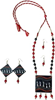 MS CREATION Navratri Special Handpainted Wooden Necklace Jewellery Set With Earrings Set For Women