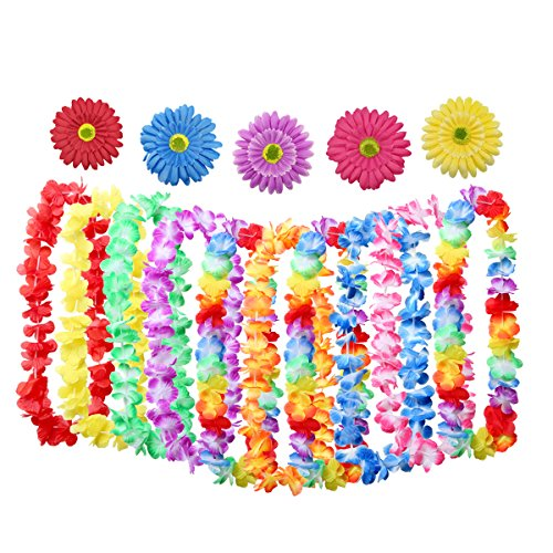 SMALUCK 10 Pieces Tropical Hawaiian Leis Ruffled Flowers Necklaces and 5 Pieces Hawaiian Luau Flower Lei Hair Clip for Party Supplies, Beach Party Decorations, Birthday Party Favors