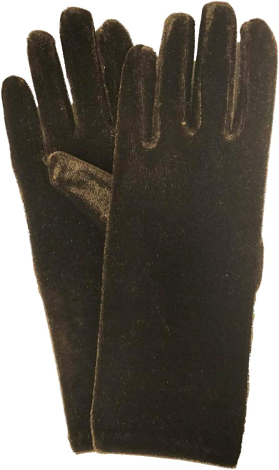 Womens Chocolate Brown Velvet Stretch Fit Gloves Unlined