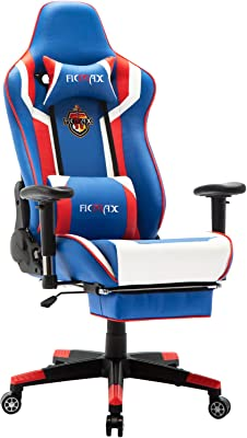 Ficmax Silla Gaming Ergonomica con Masaje Lumbar, Sillones de Oficina para Gamer, Reclinable para