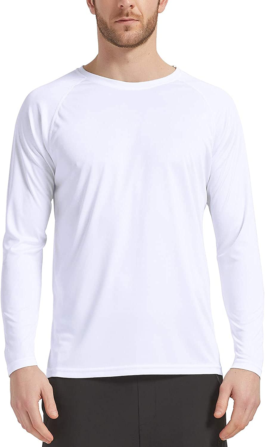Sun Protection CQC Mens Outdoor Long Sleeve T-Shirt Quick Dry Athletic Running Shirts UPF 50
