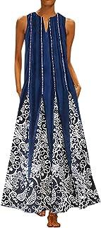 PEIZH Vintage Plus Size Women Dress V Neck Splicing Floral Printed Irregular Sleeveless Maxi Dress