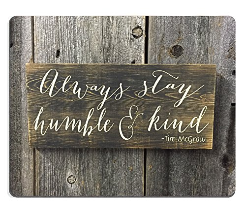 Wknoon Always Stay Humble and Kind Inspirational Quotes on Rustic Old Wood Art Mouse Pad, Positive Motivational Quote Customized Desktop Gaming Mouse Pads