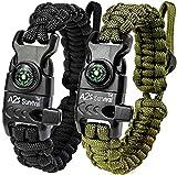 : A2S Proteccion Paracord Pulsera K2-Peak - Juego de equipo de supervivencia con brújula integrada, encendedor de fuego, cuchillo de emergencia y silbato (Negro/Verde)