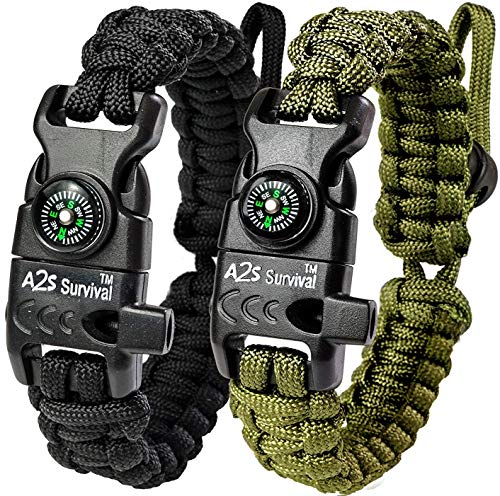 A2S Protection Paracord Bracelet K2-Peak – Survival Gear Kit with Embedded Compass, Fire Starter, Emergency Knife & Whistle (Black / Green Adjustable Size)