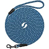 Mycicy Long Rope Leash for Dog Training 15FT 30FT 50FT, Check Cord Recall Training Agility Lead for Large Medium Small Dogs, Great for Training, Playing, Camping, or Backyard, Blue 30 Foot
