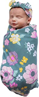Baby Be Mine Newborn Baby Swaddle Blanket with Matching Knotted Hat (Charlotte)
