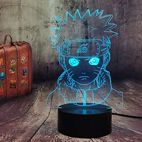 Naruto 3D Anime Lámpara de noche USB LED lámpara de mesa Touch Control 7 Cambios de Color Óptico Ilusión 3D Arts Lámpara para Luz Nocturna Decoración Uzumaki Naruto Mejores regalos para fans
