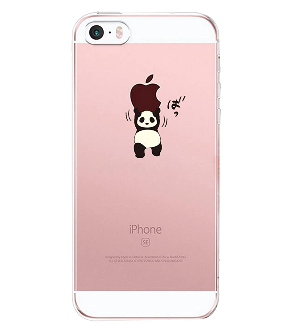 Matop Compatible for iPhone 5S 5 SE Case Crystal Clear Transparent Ultra Thin Slim Shockproof Protective Soft SiliconeCover Cute TPU for iPhone 5S / 5 / SE (Long Sky) (Panda Holding an Apple)