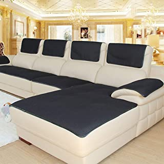 Non-Slip Breathable Sofa Cover for Pets Dog, Summer Sectional Couch Sofa Covers for Leather Sofa Stain Resistant Furniture Protector-Black 60x150cm(24x59inch)