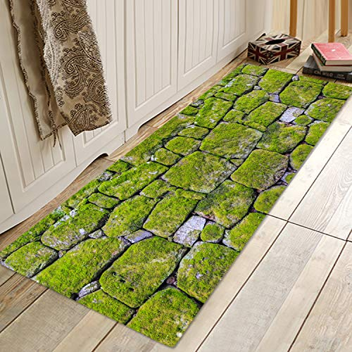 Moss Stone Pavement Print Memory Foam Bath Rugs and doormats Non Slip Absorbent Super Cozy Flannel Bathroom Rug Carpet 47x16 inches