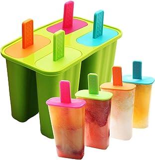 DeHub Moldes para Helados Fabricador de Hielo de Silicona de Grado alimenticio, moldes de Paleta de paletas Libres de BPA con Palos y Protectores contra Goteo (Verde, 1 Piezas)