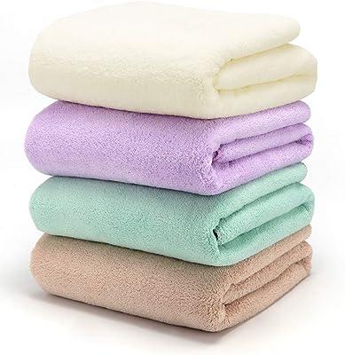 Avolkerバスタオル 4枚セット 吸水速乾 抗菌防臭 ホテル仕様 タオル 柔らか肌触り 約70×140cm家庭用/ホテル