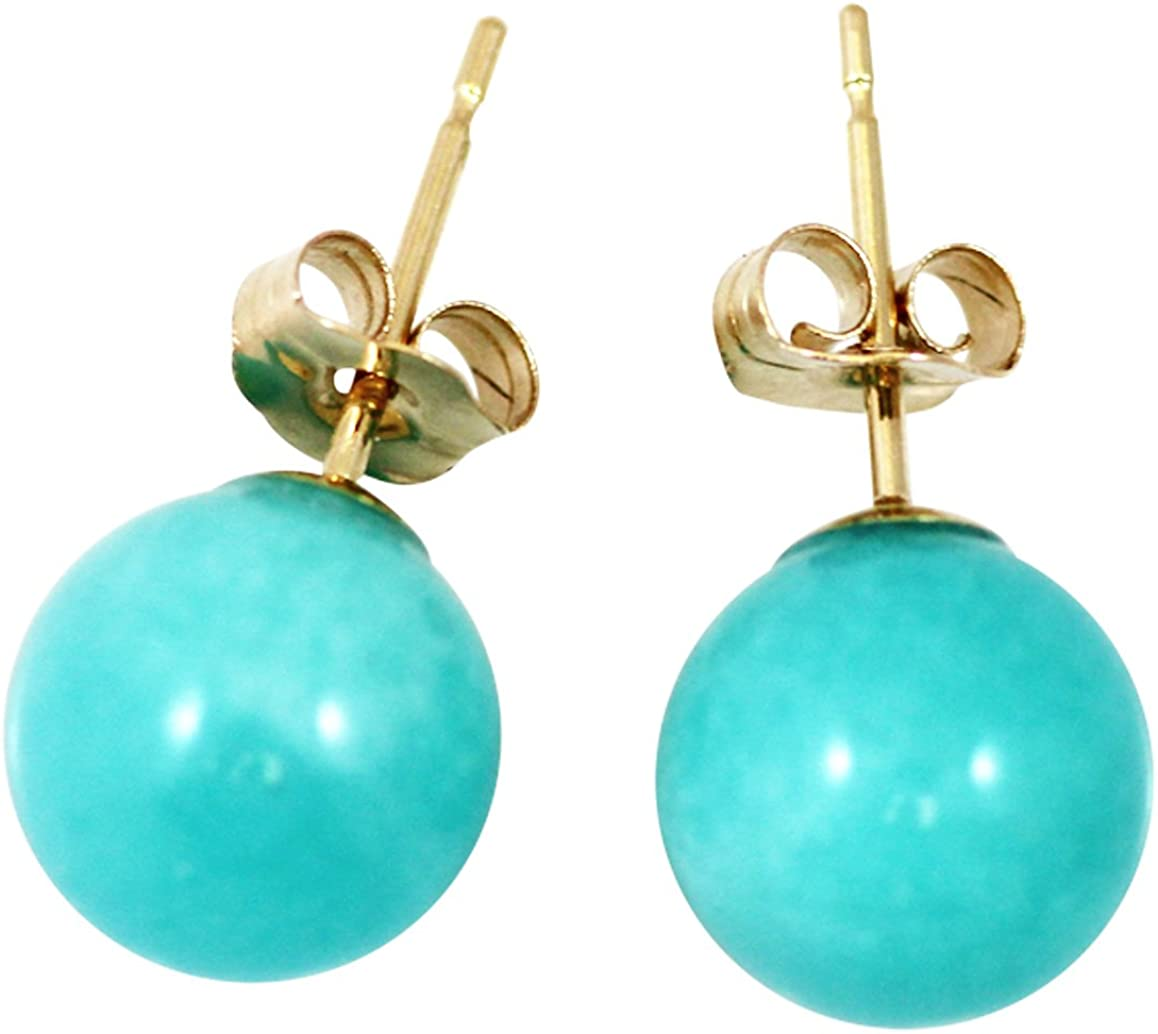 Peruvian Amazonite 8mm Ball Stud-Earrings; AAA Quality, 14Kt. Yellow Solid Gold