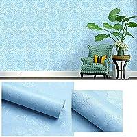 はがせる 壁紙,リメイクシート 壁紙,PVC防水と耐油性の自己接着壁紙、リビングルームの寝室の背景壁紙、-青2_0.45 * 10m