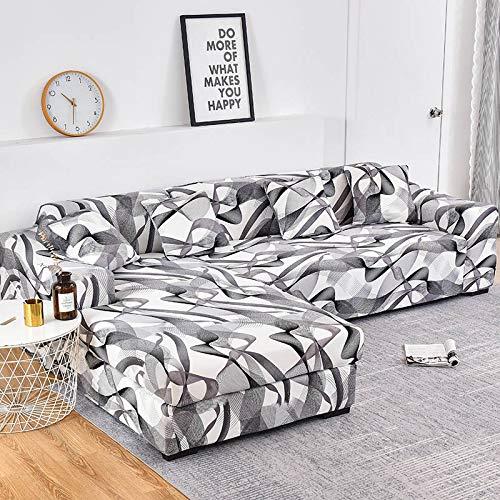 Funda de sofá elástica con Estampado Floral para el Protector de la Funda de la Silla de la Sala de Estar Compre Dos Fundas separadas para el sofá en Forma de L A27 de 2 plazas