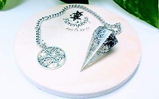 Pendulo orgonita con cuarzo cristal y arbol de la vida