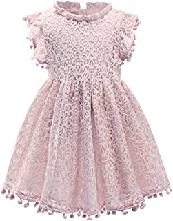 Csbks Baby Toddler Girls Cute Pompoms Lace Floral Elegant Retro Swing Party Dress