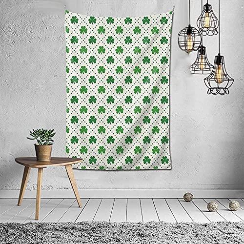 Tapiz de cuatro hojas, trébol, trébol, flores, tapiz, para colgar en la pared, para dormitorio (60 x 40 pulgadas)