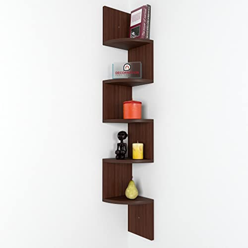 DecorNation Zigzag Corner Wall Mount Shelf Unit (Walnut Finish, Brown)