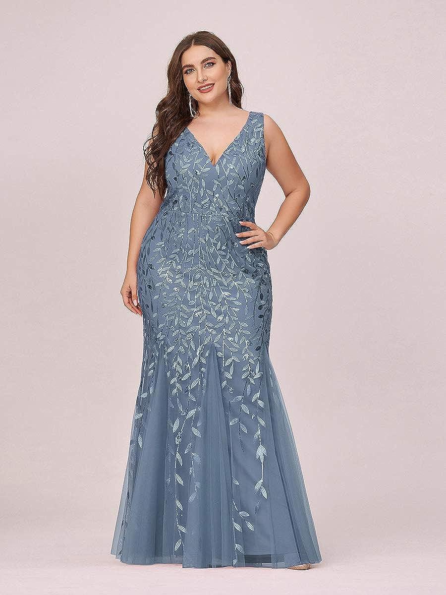 Ever-Pretty Women's Double V-Neck Sleeveless Mermaid Dress Plus Size Evening Prom Dress 7886-PZ