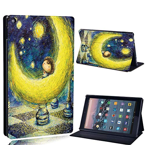 FINDING CASE For Amazon re HD 10 (5th 7th 9th Gen) Tablet - Printed PU Flip Leather Smart Lightweight Shell Stand Cover Case for re HD 10 (5th 7th 9th Gen) (Fire HD 10 (5th 7th 9th Gen), moon paint)