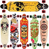 Longboard Skateboard MARONAD drop through Race Cruiser ABEC-11 Skateboard 104x24 cm Streetsurfer patinar FUN, Modell Streetsurfer - Dripping Skull