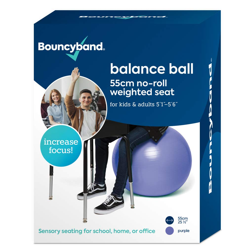 Balance Ball - No-Roll Weighted Seat is a Flexible Chair for School, Office or Home (Medium, Purple)
