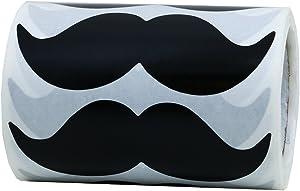 Hybsk 8cm x 4cm Black Mustache Stickers - Moustache Party Favors Total 200 Per Roll (Black)