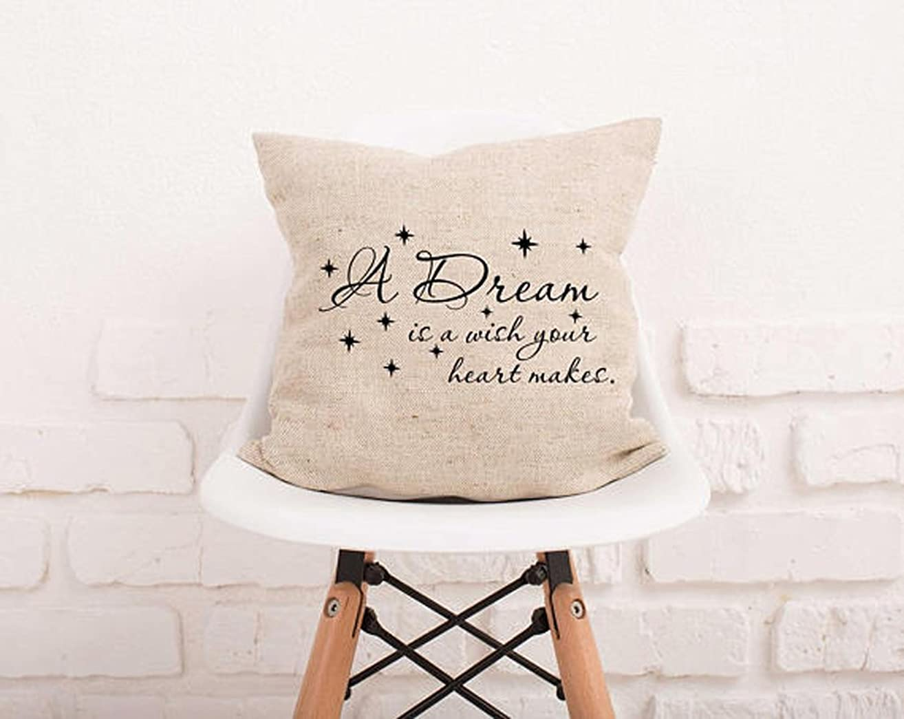 High quality A Dream Is A Wish Your Heart Makes Pillow Cover Stars Pillowcase Decorative Pillow Nursery Decor Kids Pillowcase Natural Burlap Nursery