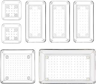 LinStyle Organisateur Tiroir, 4 Tailles Rangement Maquillage Tiroir Transparent, Empilable Boite de Rangement Plastique Ti...