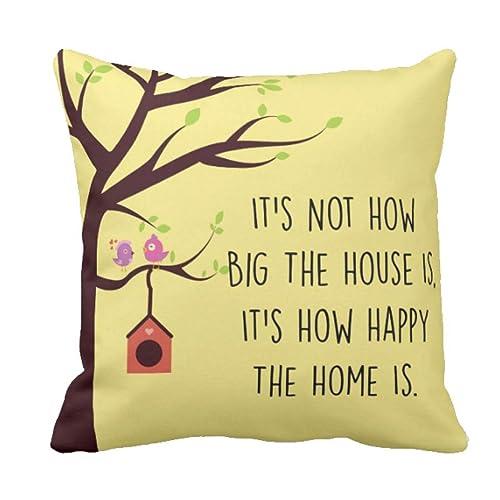 Yaya Cafe™ 12 x 12 inches Happy Home Printed Cushion Covers Sofa