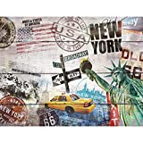 Tapeten Fototapeten Holzoptik New York - Vlies Wand Tapete Wohnzimmer Schlafzimmer Büro Flur...