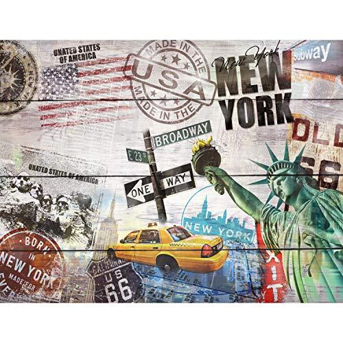 Runa Art Fototapete Holzoptik New York USA Modern Vlies Wohnzimmer Schlafzimmer Flur - made in Germany - Bunt 9369010a