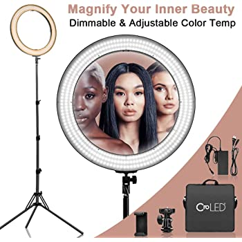 Amazon Com Dimmable 18 Inch Makeup Led Ring Light 3200 5600k Warm To White Soft Light W Lcd Display For Precise Adjustment Usb Power Output Camera Phone Holder Carrying Case For Selfie Youtube