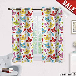 Big datastore Pattern DIY Available Curtain,Fiesta,Abstract Sombrero and Maracas Pattern Geometric Star Design Colorful Illustration,with Solid Grommet Top,Multicolor,W72 Xl45