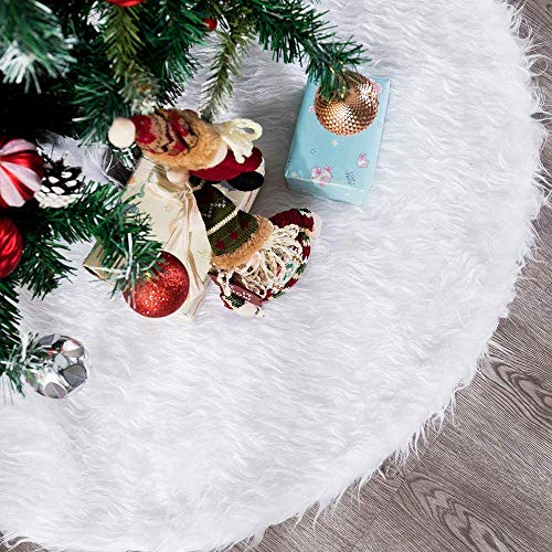 ZZA White Faux Fur Christmas Tree Skirt Tree Skirts, Plush Tree Mat Base Cover, 31/35/48 Inch for Xmas Year Party Holiday Home Decorations