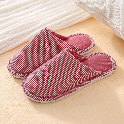 Adulto Zapatillas de Estar por Casa Algodón,Zapatillas de Piso a Rayas Baotou,Pantuflas cálidas engrosadas para Interiores,Rojo Vino_36-37,Slippers Algodón Interior Al Aire Libre Zapatos