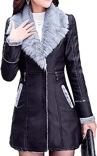 Women's Faux Leather Fleece Linen Outwear Zip-Up Winter Long Trench Coats