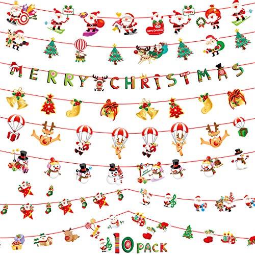Weihnachten Girland Banner 10 Stück Hängende Papiergirlande Merry Christmas DIY Deko Papier Santa Banner Weihnachtsmann Wimpelkette Schneemann Cartoon Deko für Weihnachten Neues Jahr Party