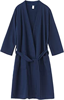 Jixin4you Mens Waffle Robes Kimono Lightweight Robe Dressing Gown Nightwear Bathrobe M~XL Spa Hotel Home
