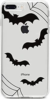 DistinctInk Clear Shockproof Hybrid Case for iPhone iPhone 7 Plus / 8 Plus - TPU Bumper, Acrylic Back, Tempered Glass Screen Protector - Bats and Spider Webs