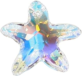 1 pc Swarovski Crystal 6721 Starfish Charm Pendant Clear AB 40mm / Findings / Crystallized Element