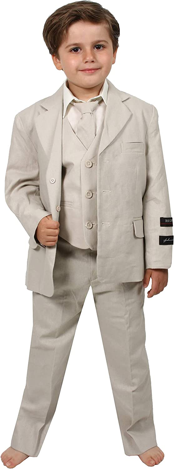 Johnnie Lene Boys Cotton/Linen Natural Summer Suit from Baby to Teen