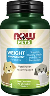NOW Pet Health, Weight Management Supplement, Formulated for Dogs, NASC Certified, 90 Chewable Tablets