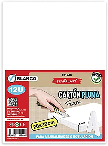 CRISCOLOR CART/ÓN PLUMA BLANCO ADHESIVO 50x70cm.