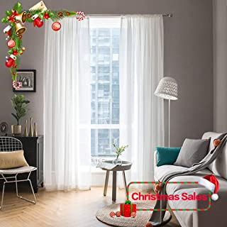 MIULEE 2 Panels Solid Color White Sheer Window Curtains for Christmas Elegant Window Voile Panels/Drapes/Treatment for Bedroom Living Room (54 X 72 Inches White)