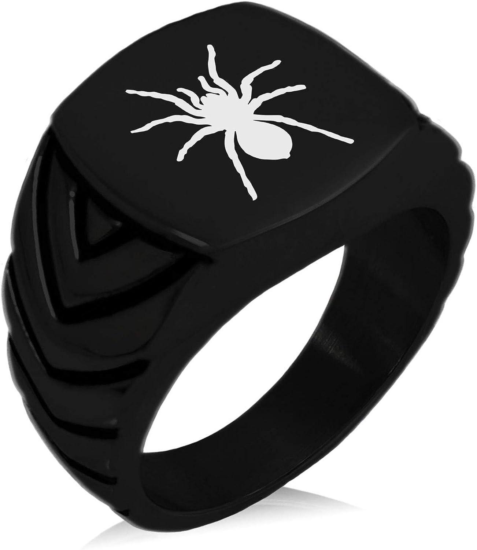 Stainless Steel Tarantula Spider Chevron Pattern Biker Style Polished Ring